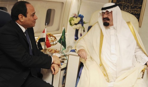 Saudi Arabia's King Abdullah meets Egypt's new president Abdel Fattah al-Sisi during his visit to Cairo