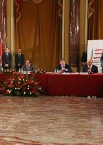 Egitto President El Sisi with Italian vice minister Carlo Calenda  and ing Khaled Abu Bakr