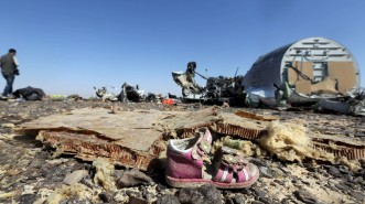 A child's shoe is seen in front of debris from a Russian airliner which crashed at the Hassana area in Arish city, north Egypt, November 1, 2015. Russia has grounded Airbus A321 jets flown by the Kogalymavia airline, Interfax news agency reported on Sunday, after one of its fleet crashed in Egypt's Sinai Peninsula, killing all 224 people on board. REUTERS/Mohamed Abd El Ghany      TPX IMAGES OF THE DAY