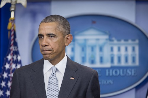 President Barack Obama delivers a statement to the press regarding the Paris terrorist attacks, in the James S. Brady Press Briefing Room of the White House, Nov. 13, 2015. (Official White House Photo by Amanda Lucidon)